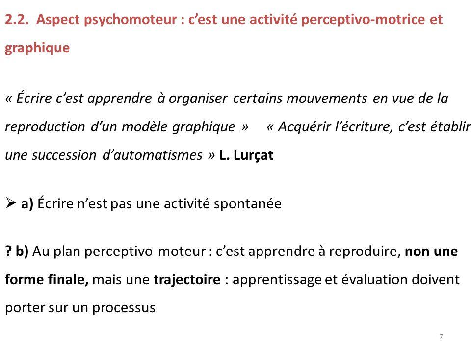 2.2. Aspect psychomoteur : c'est une activité perceptivo-motrice et graphique
