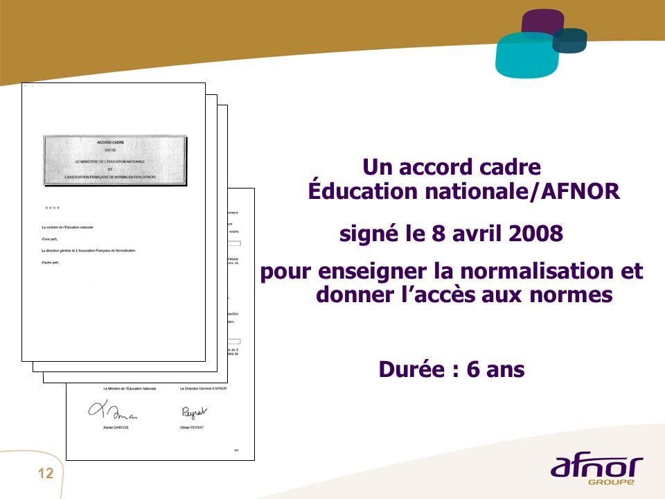 Un accord cadre Éducation nationale/AFNOR signé le 8 avril 2008
