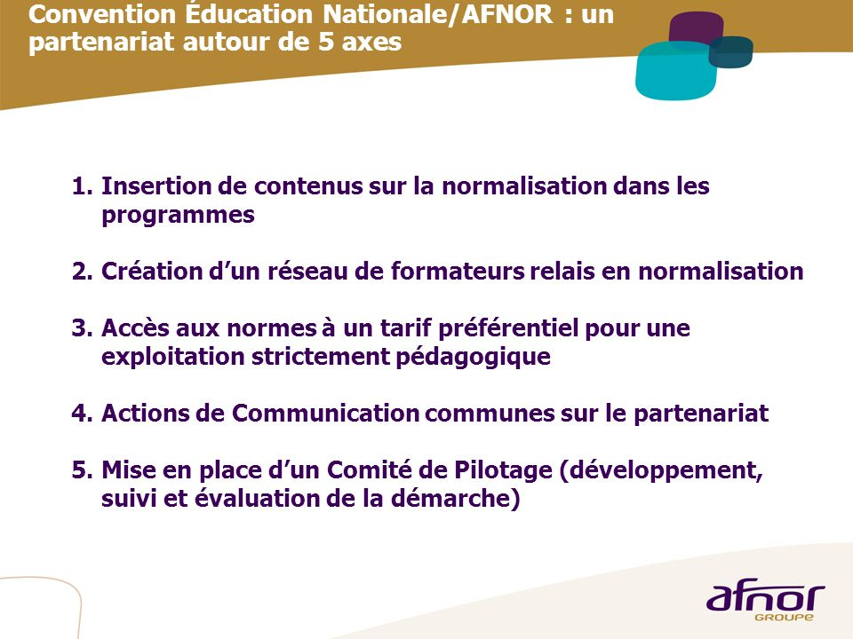 Convention Éducation Nationale/AFNOR : un partenariat autour de 5 axes