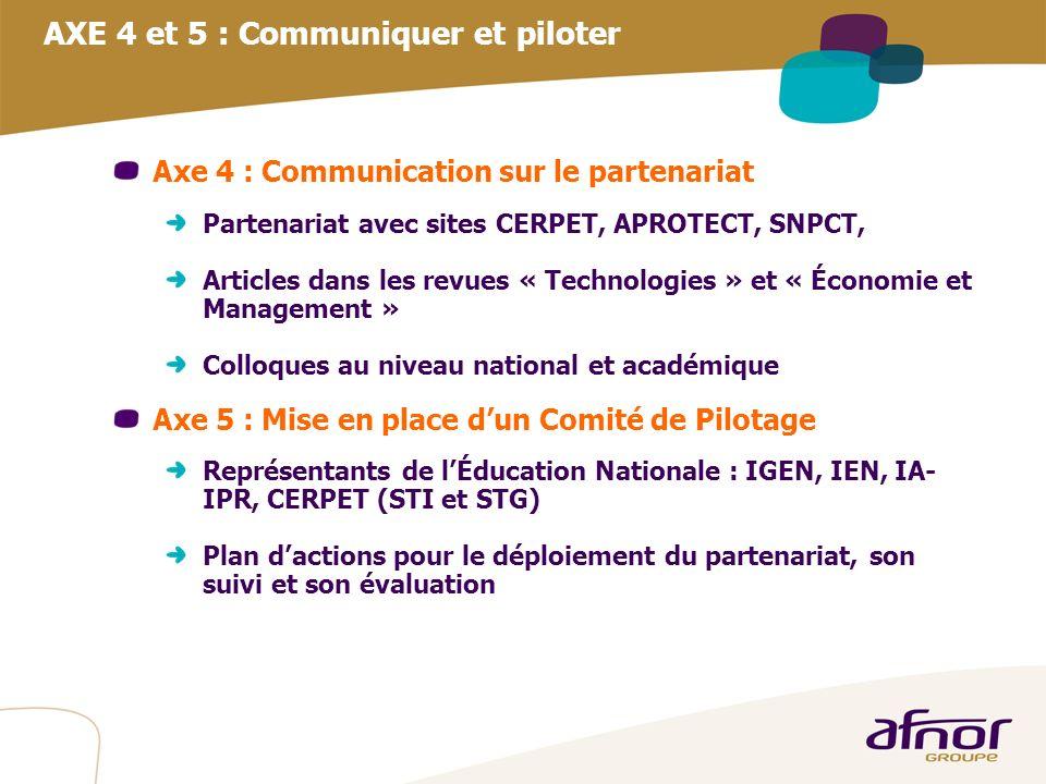AXE 4 et 5 : Communiquer et piloter