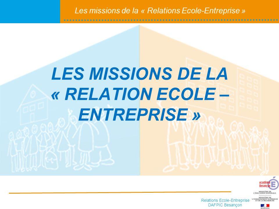 LES MISSIONS DE LA « RELATION ECOLE – ENTREPRISE »
