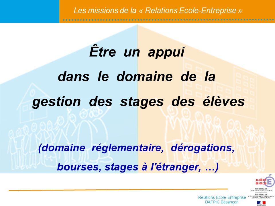 Être un appui dans le domaine de la gestion des stages des élèves (domaine réglementaire, dérogations, bourses, stages à l étranger, …)