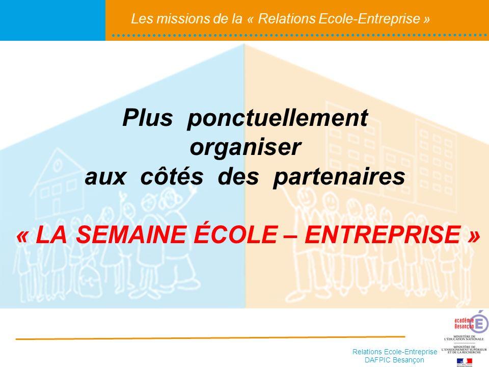 Plus ponctuellement organiser aux côtés des partenaires « LA SEMAINE ÉCOLE – ENTREPRISE »