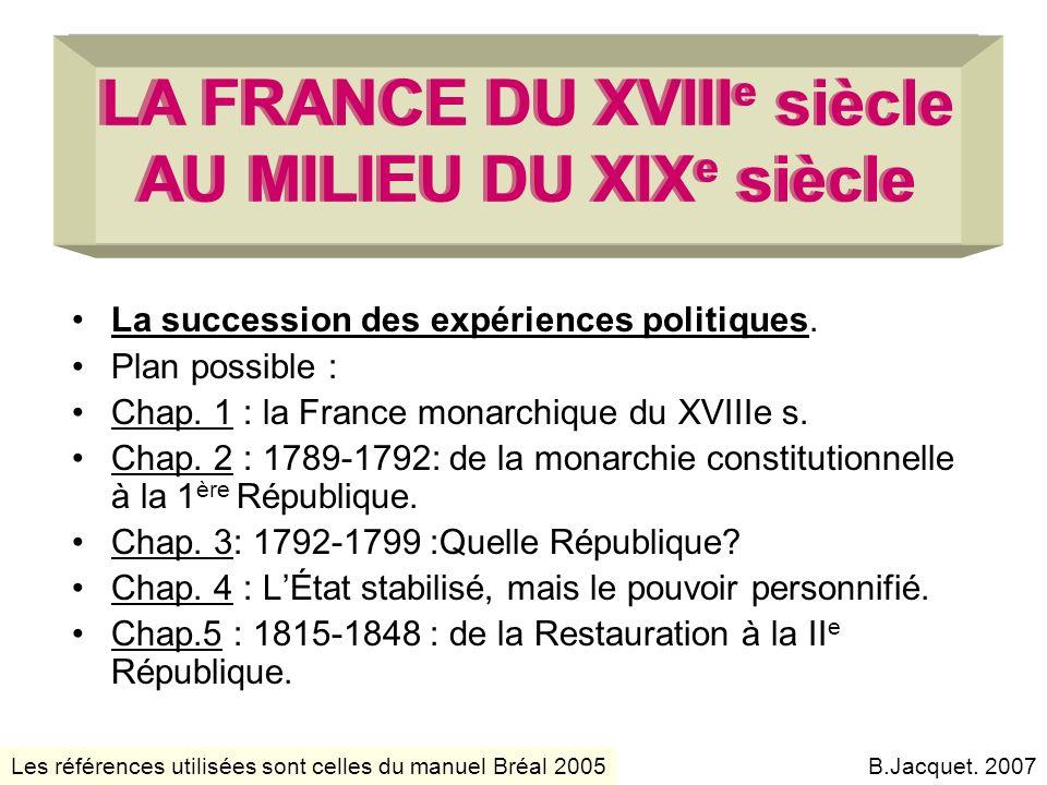 LA FRANCE DU XVIIIe siècle AU MILIEU DU XIXe siècle
