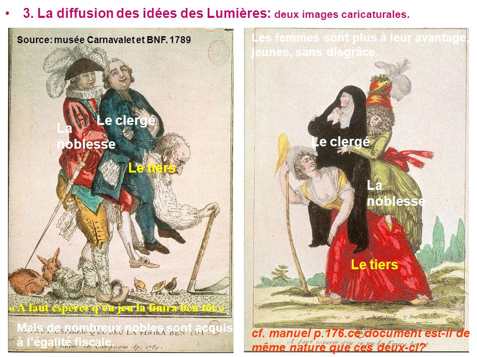 3. La diffusion des idées des Lumières: deux images caricaturales.