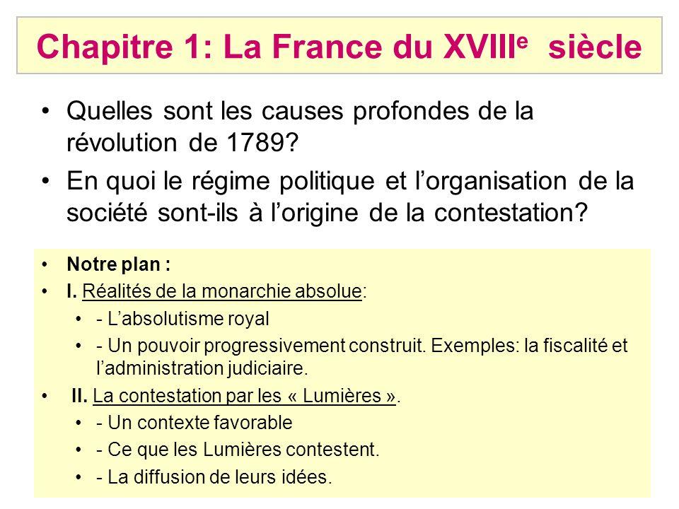 Chapitre 1: La France du XVIIIe siècle