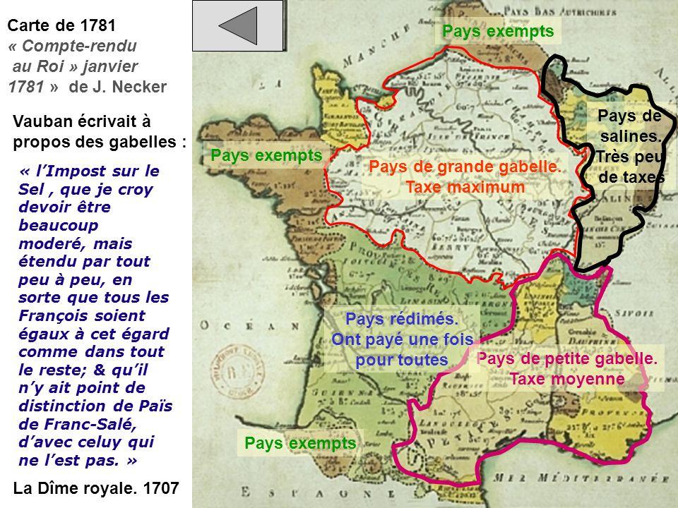 au Roi » janvier 1781 » de J. Necker Pays exempts