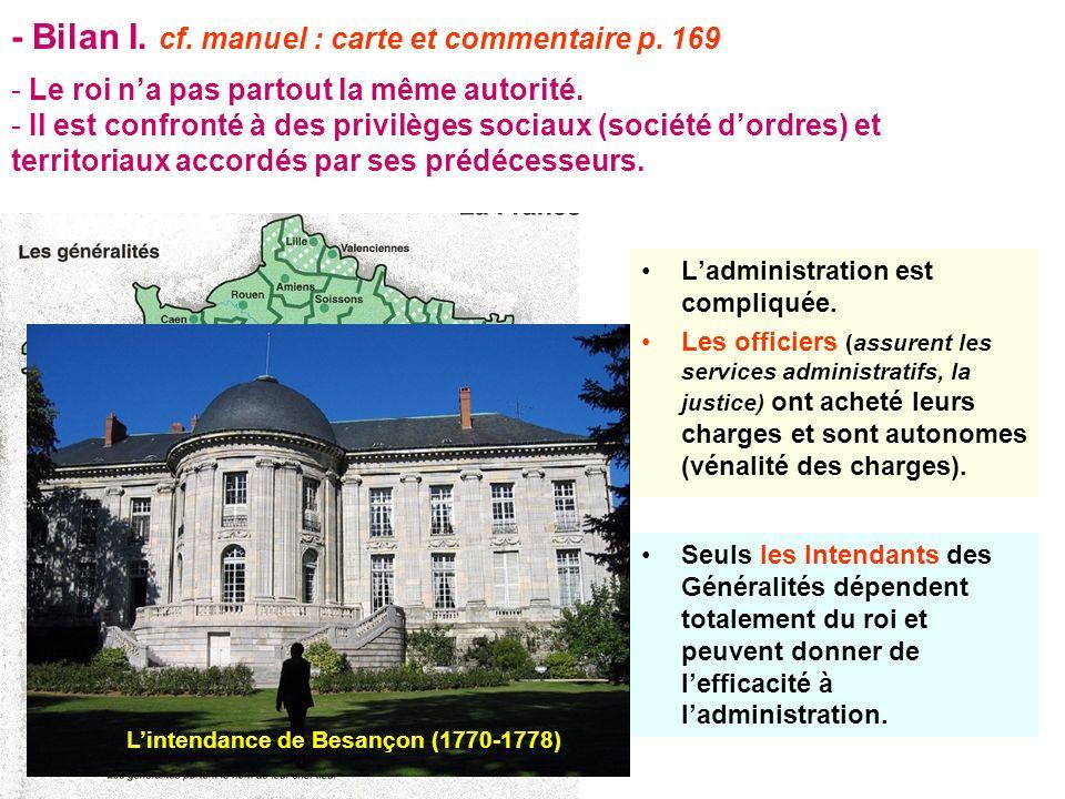 - Bilan I. cf. manuel : carte et commentaire p. 169