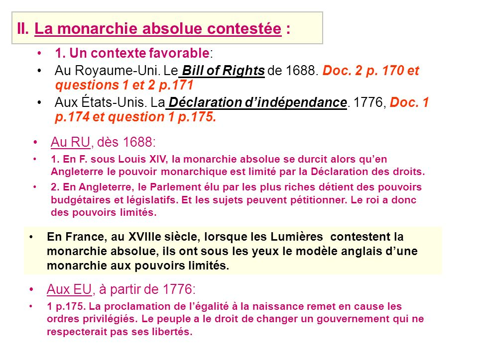 II. La monarchie absolue contestée :