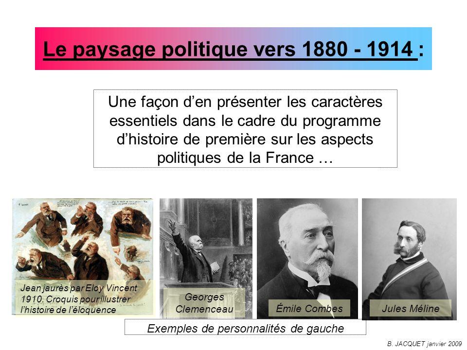 Le paysage politique vers 1880 - 1914 :