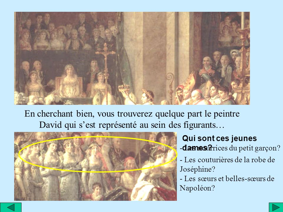 En cherchant bien, vous trouverez quelque part le peintre David qui s'est représenté au sein des figurants…