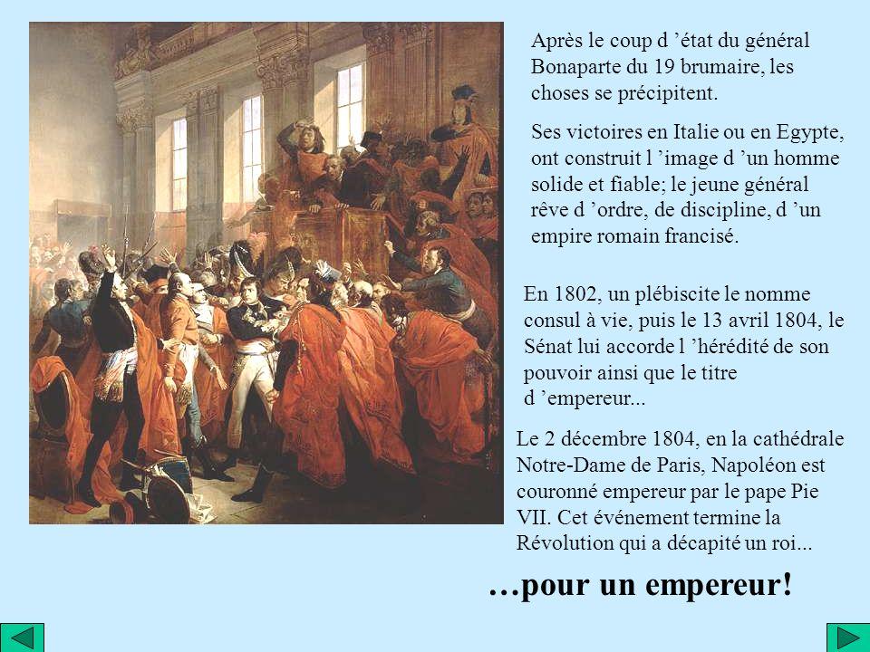 Après le coup d 'état du général Bonaparte du 19 brumaire, les choses se précipitent.