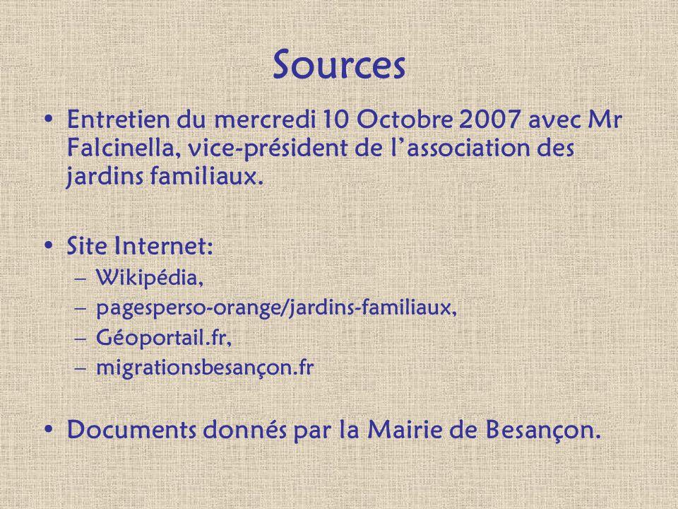 Sources Entretien du mercredi 10 Octobre 2007 avec Mr Falcinella, vice-président de l'association des jardins familiaux.