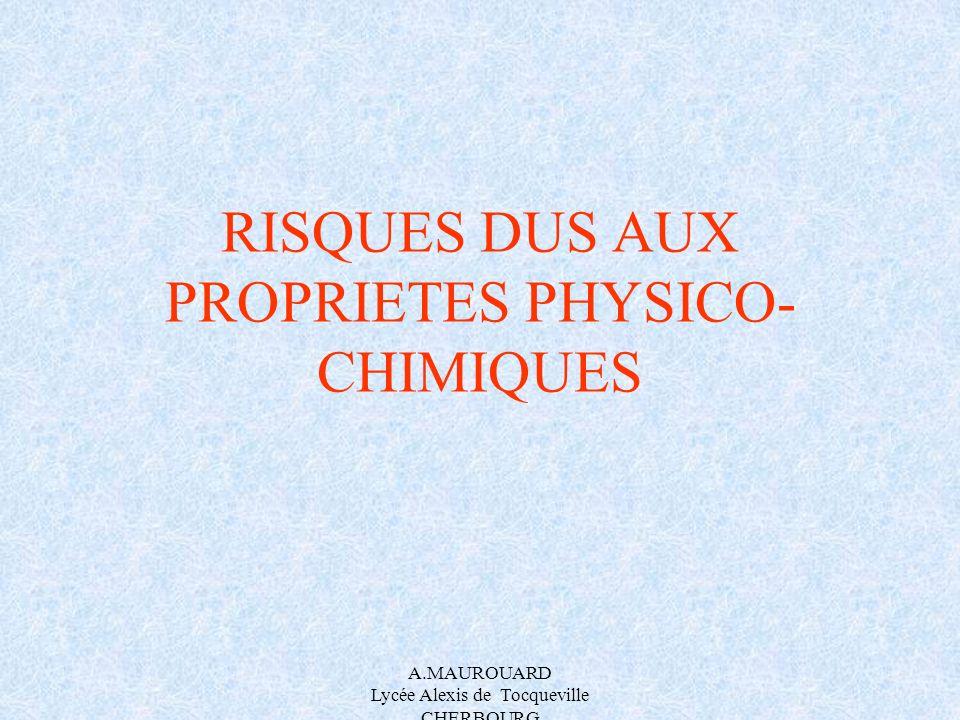 RISQUES DUS AUX PROPRIETES PHYSICO-CHIMIQUES