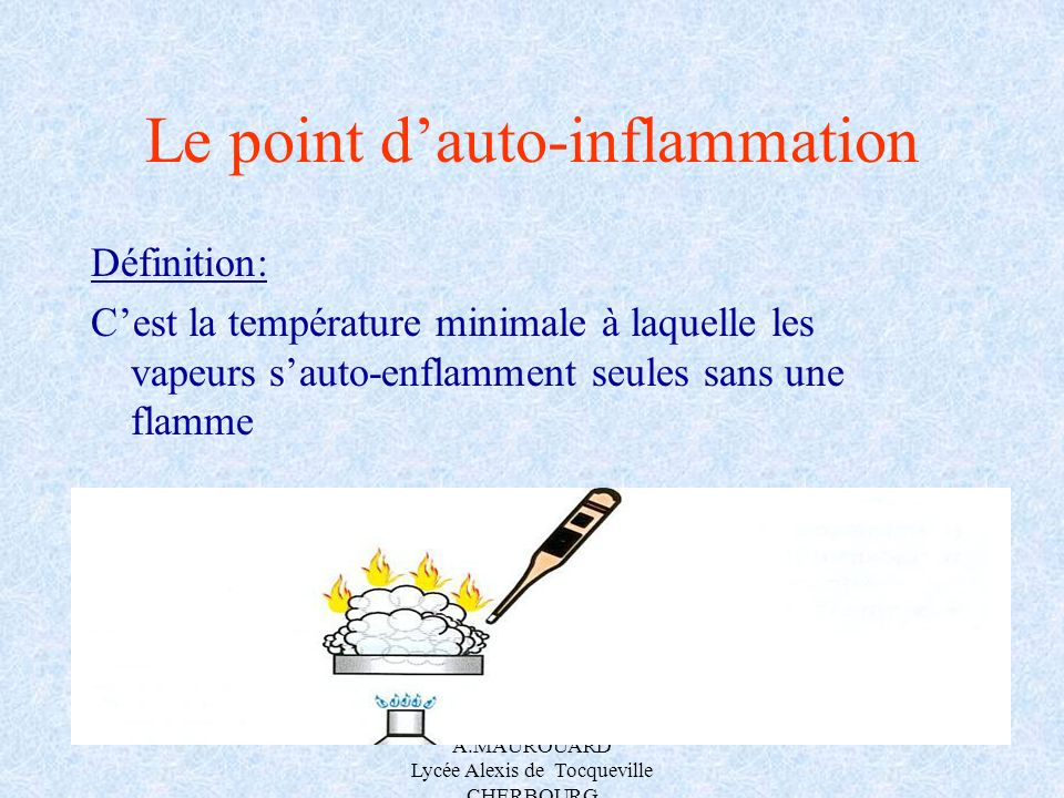Le point d'auto-inflammation