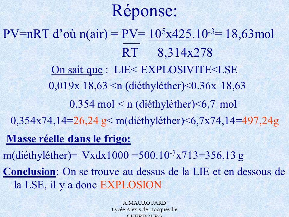 Réponse: PV=nRT d'où n(air) = PV= 105x425.10-3= 18,63mol RT 8,314x278