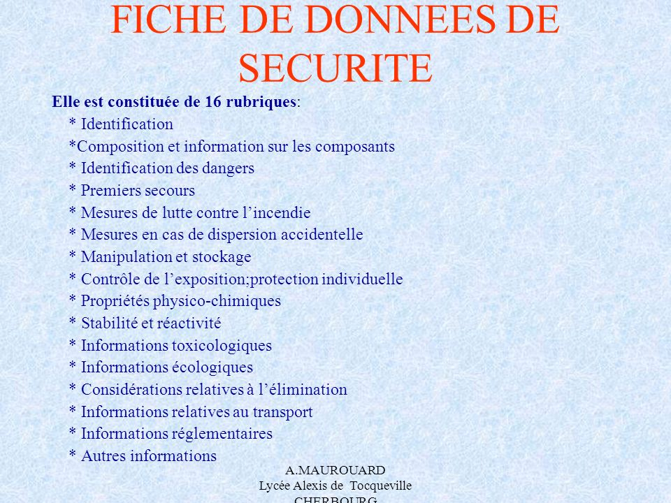 FICHE DE DONNEES DE SECURITE
