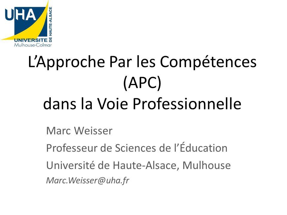 L'Approche Par les Compétences (APC) dans la Voie Professionnelle