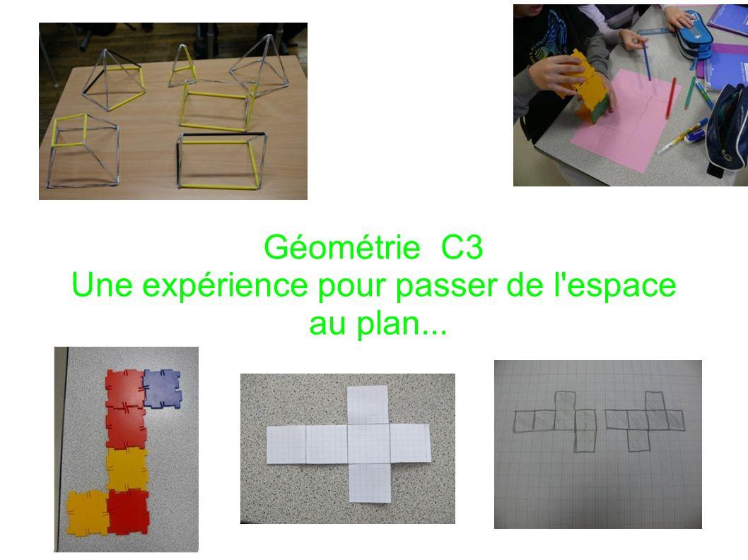 Géométrie C3 Une expérience pour passer de l espace au plan...