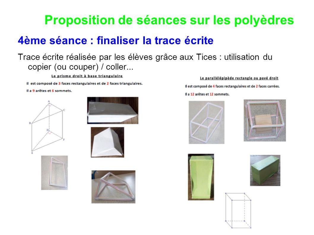 Proposition de séances sur les polyèdres