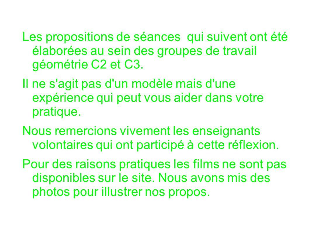 Les propositions de séances qui suivent ont été élaborées au sein des groupes de travail géométrie C2 et C3.