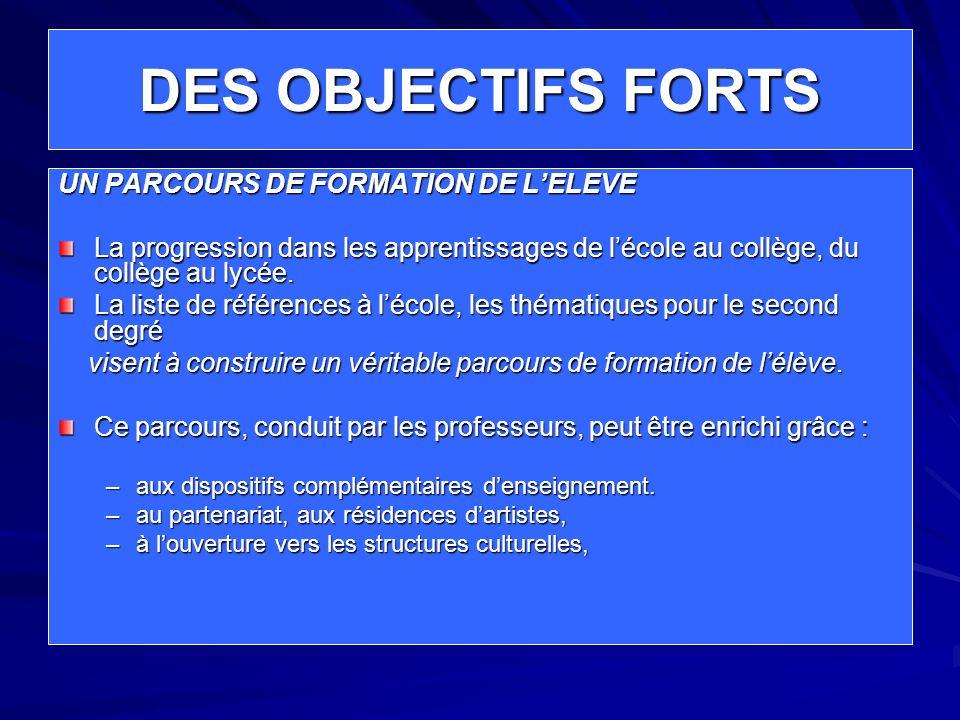 DES OBJECTIFS FORTS UN PARCOURS DE FORMATION DE L'ELEVE