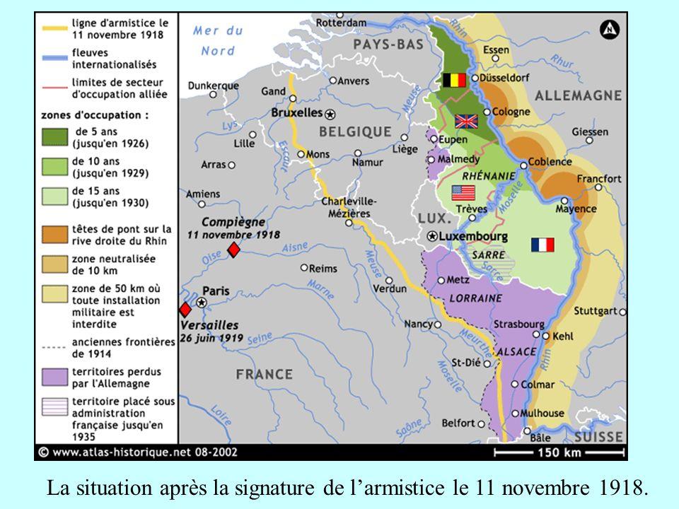 La situation après la signature de l'armistice le 11 novembre 1918.