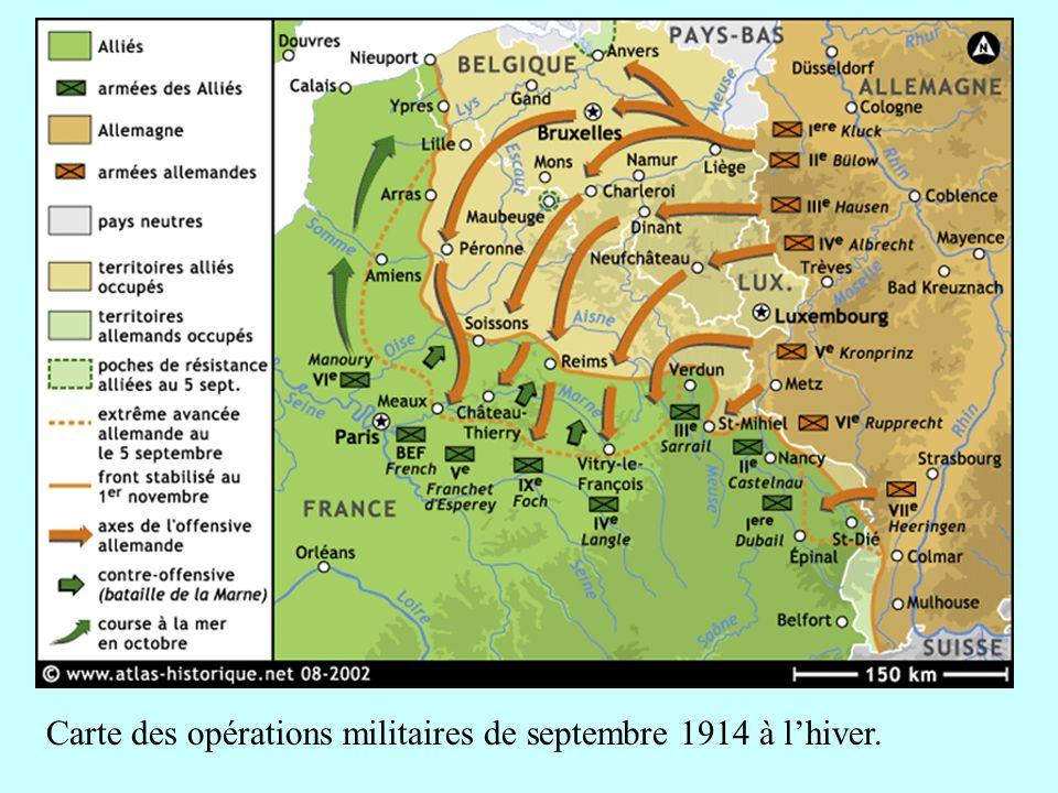 Carte des opérations militaires de septembre 1914 à l'hiver.