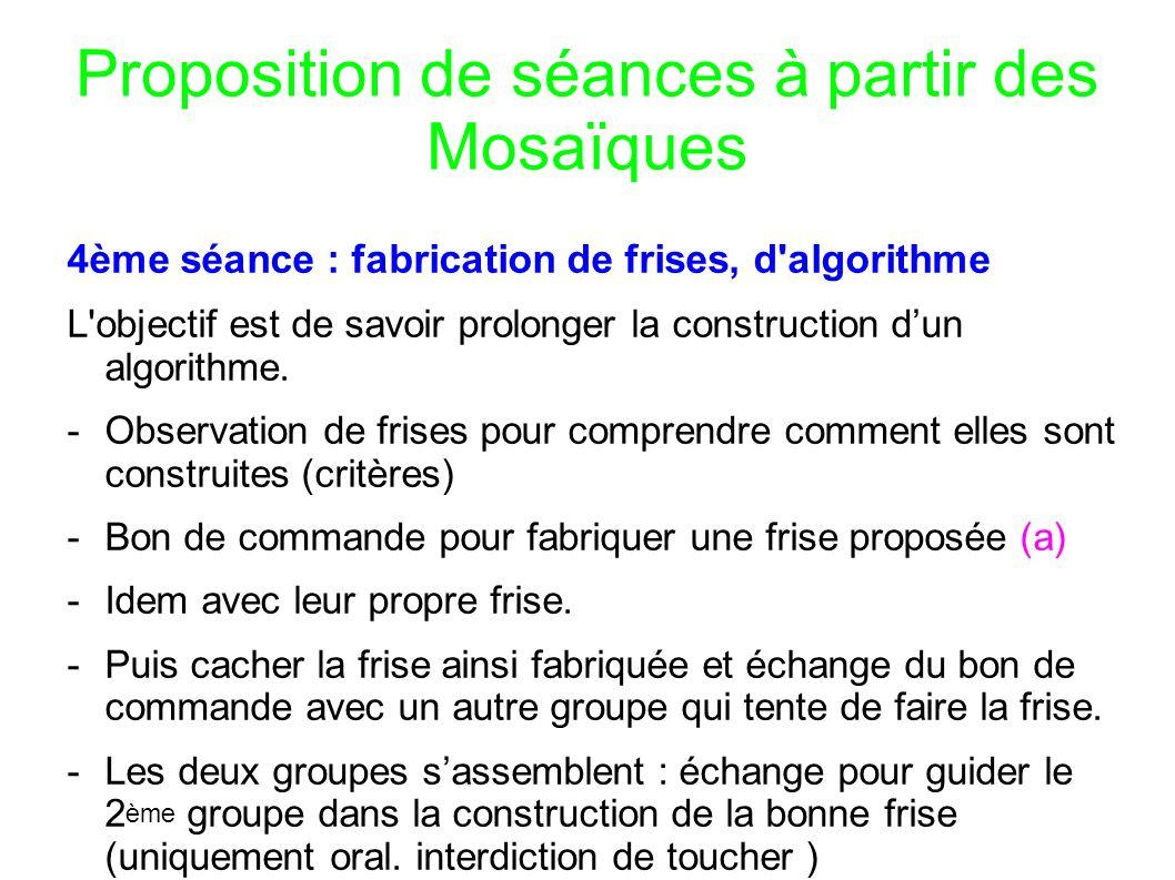 Proposition de séances à partir des Mosaïques