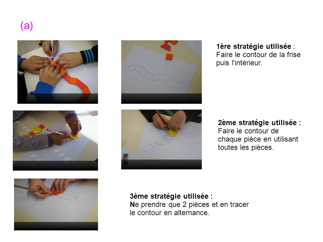 (a) 1ère stratégie utilisée : Faire le contour de la frise puis l intérieur. 2ème stratégie utilisée :