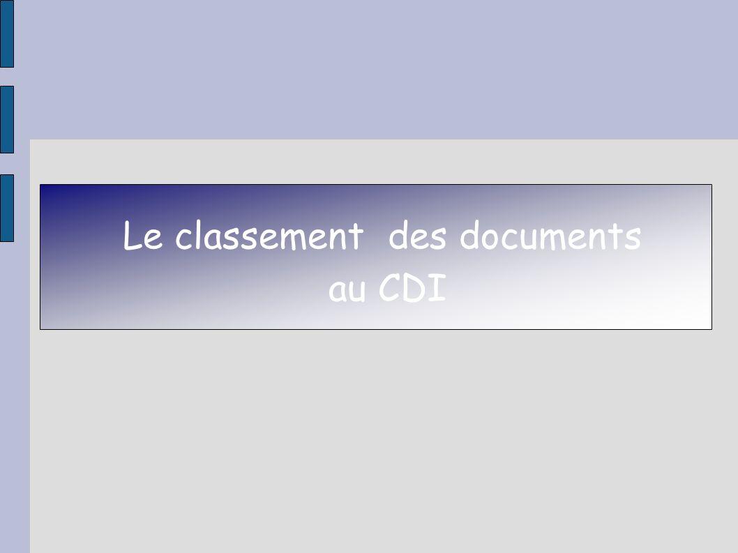 Le classement des documents