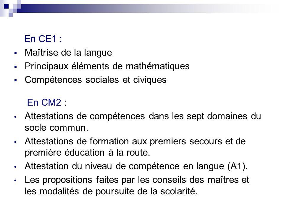 En CE1 :Maîtrise de la langue. Principaux éléments de mathématiques. Compétences sociales et civiques.