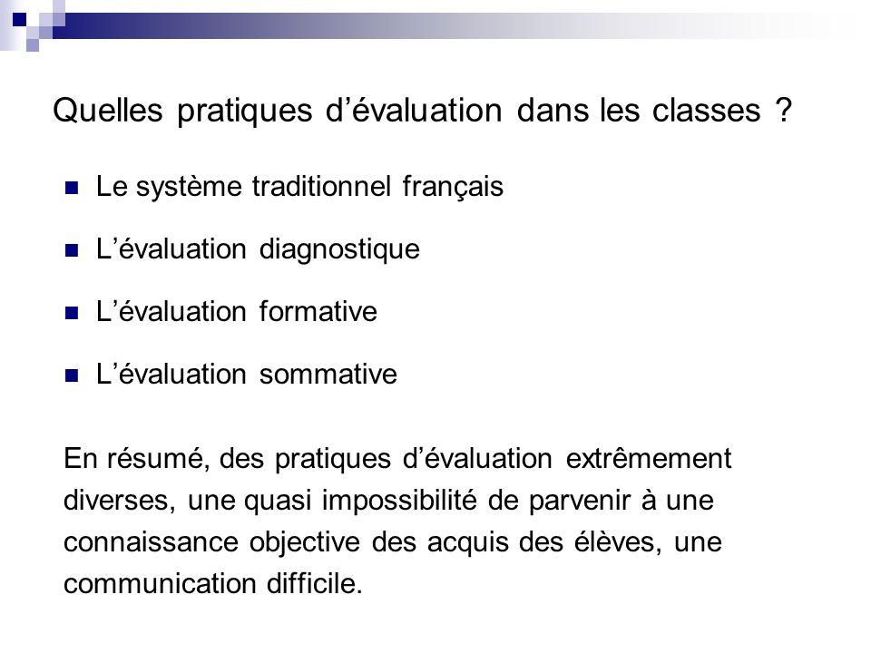Quelles pratiques d'évaluation dans les classes