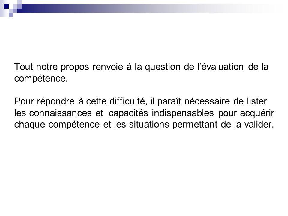 Tout notre propos renvoie à la question de l'évaluation de la compétence.
