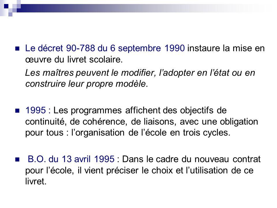 Le décret 90-788 du 6 septembre 1990 instaure la mise en œuvre du livret scolaire.