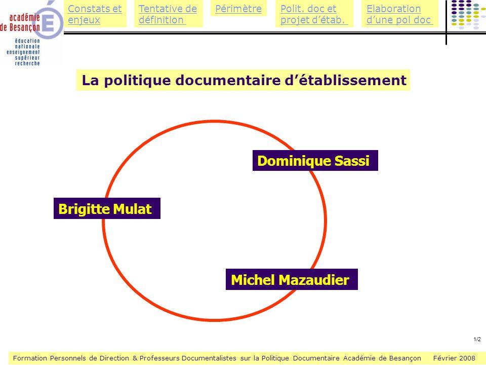 La politique documentaire d'établissement
