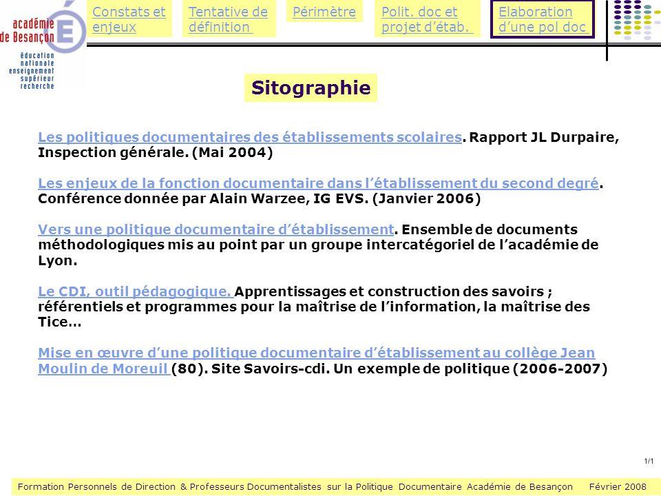 Sitographie Les politiques documentaires des établissements scolaires. Rapport JL Durpaire, Inspection générale. (Mai 2004)