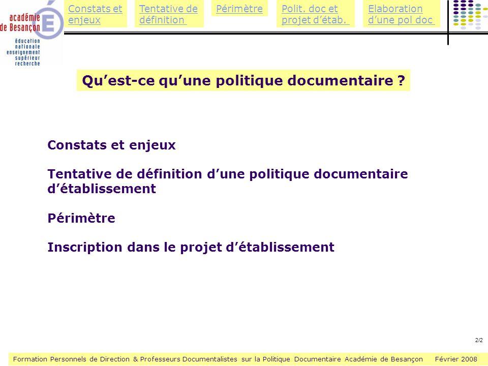 Qu'est-ce qu'une politique documentaire