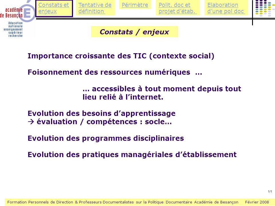Importance croissante des TIC (contexte social)