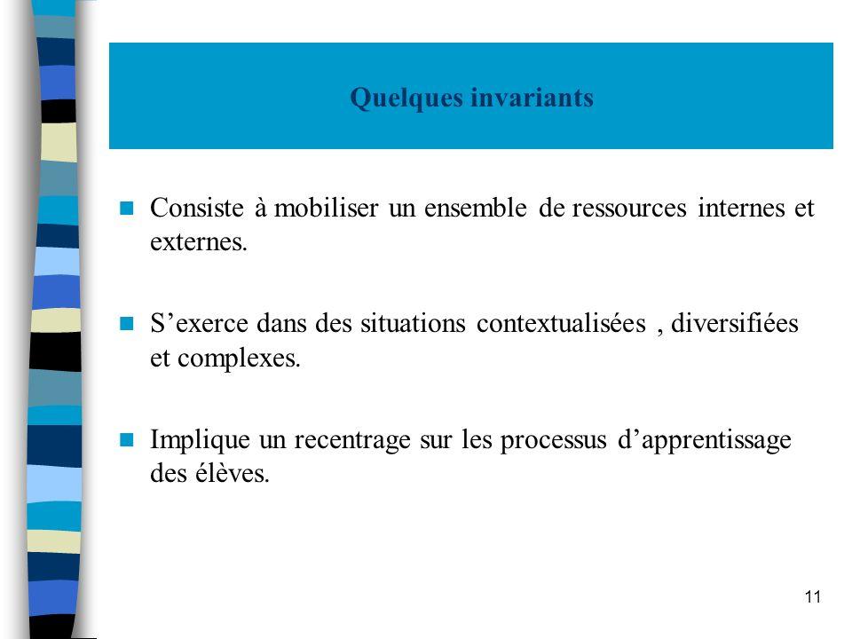 Quelques invariants Consiste à mobiliser un ensemble de ressources internes et externes.