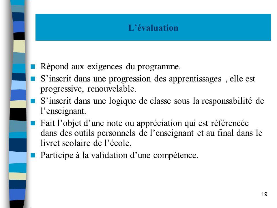 L'évaluation Répond aux exigences du programme. S'inscrit dans une progression des apprentissages , elle est progressive, renouvelable.
