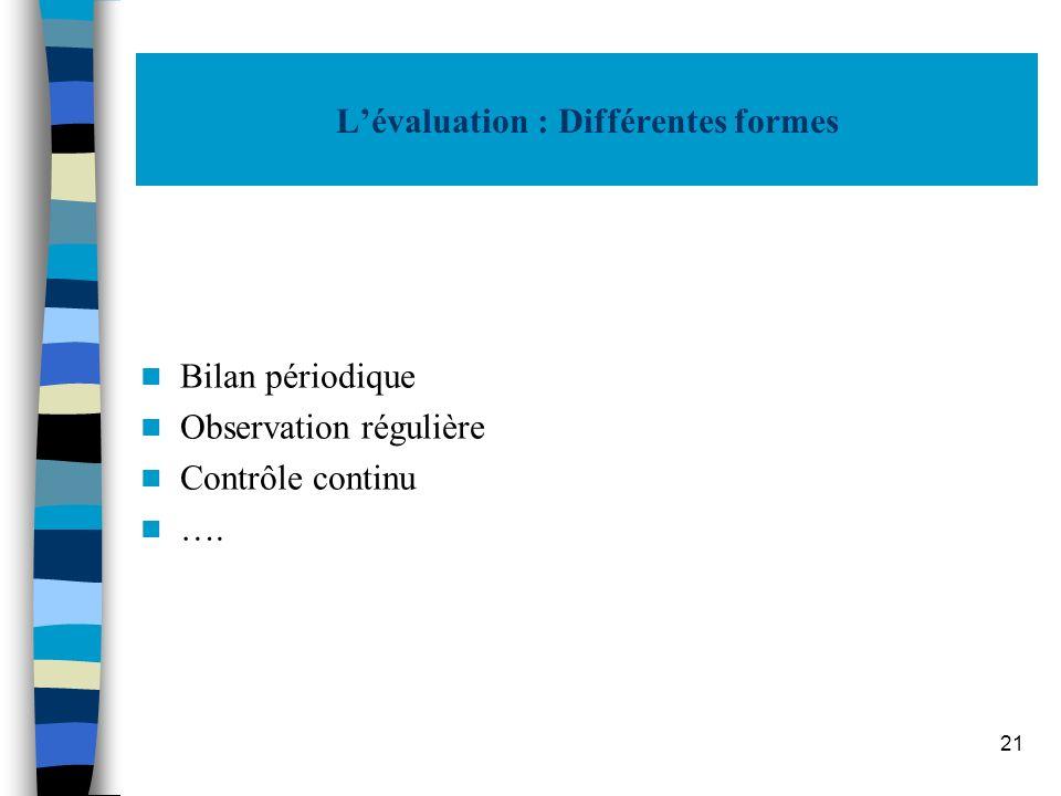 L'évaluation : Différentes formes