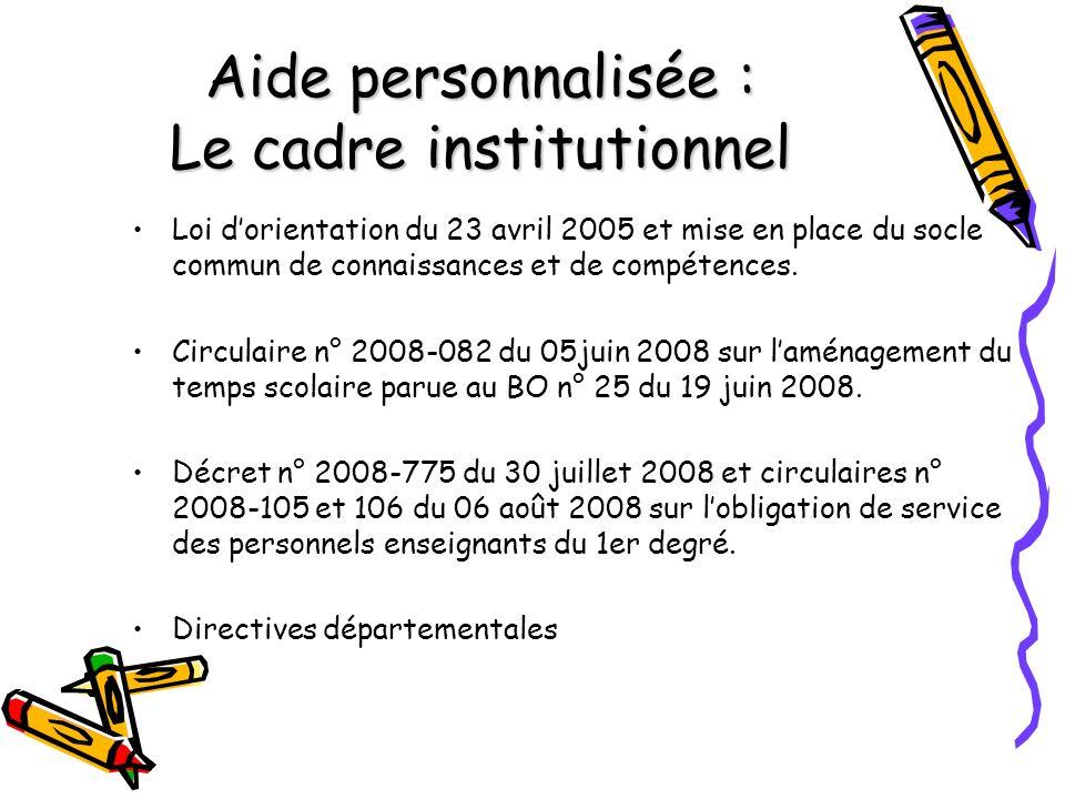 Aide personnalisée : Le cadre institutionnel