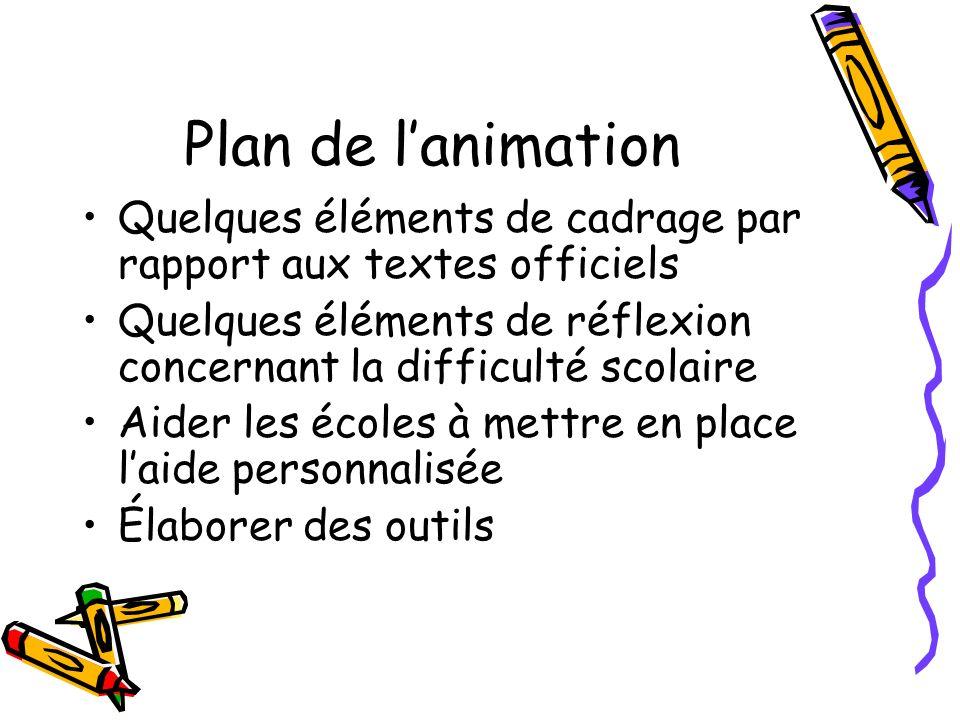 Plan de l'animation Quelques éléments de cadrage par rapport aux textes officiels. Quelques éléments de réflexion concernant la difficulté scolaire.