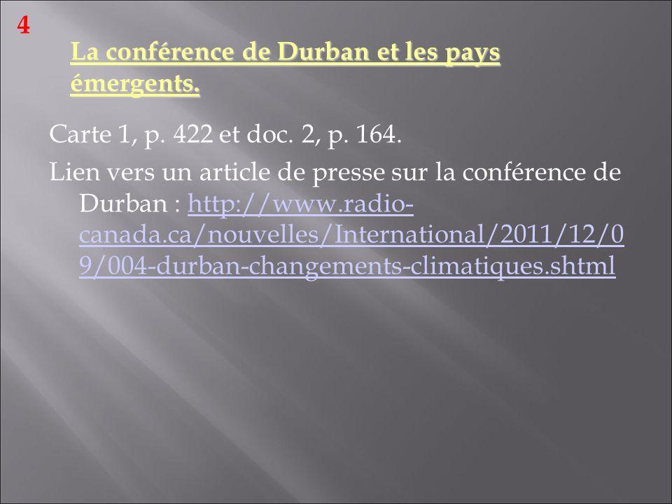 La conférence de Durban et les pays émergents.