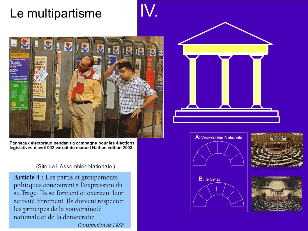 IV. Le multipartisme. A:l Assemblée Nationale.