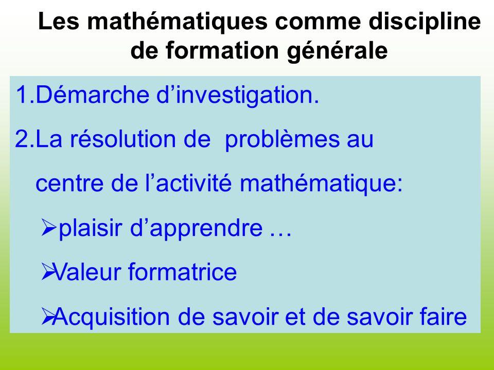 Les mathématiques comme discipline de formation générale