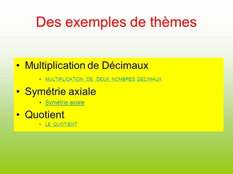 Des exemples de thèmes Multiplication de Décimaux Symétrie axiale
