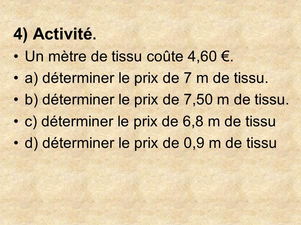 4) Activité. Un mètre de tissu coûte 4,60 €.