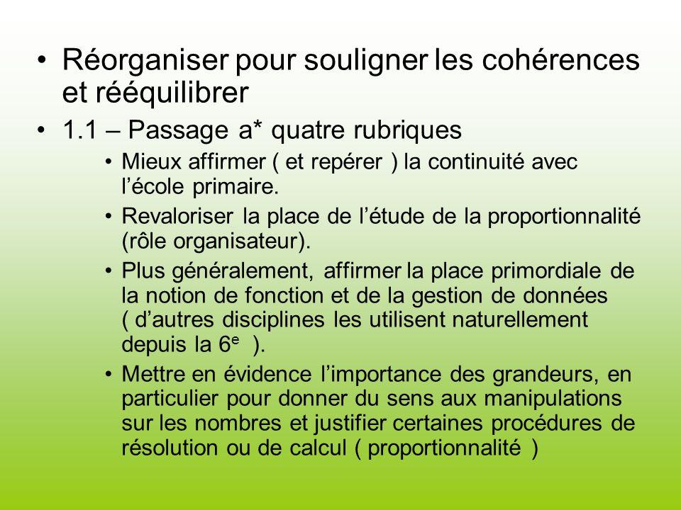 Réorganiser pour souligner les cohérences et rééquilibrer